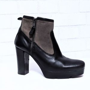 Yerse Suede Leather Block Heel Ankle Boots 38